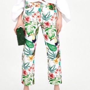 Zara Trf Collection Tropical Print Jeans Size 00